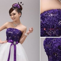 Elegant Padded Back Zipper Short Lace Mini Bridesmaid Prom Party Evening Dress For Wedding Ball Gown Dress [7977987527]
