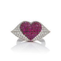 Large White Diamond & Ruby Kiss Me Ring | Moda Operandi
