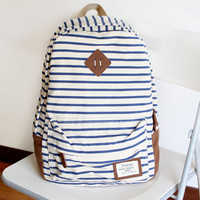 Simple Striped Canvas Backpack-Blue