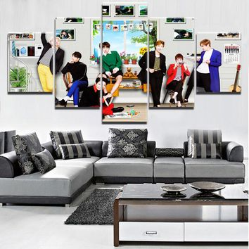 5 Pieces HD Print Large BTS Band Poster Modern Decorative Paintings on Canvas Wall Art for Home Decorations Wall Decor