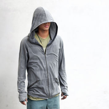 DRIFT HOODY - Men's Lightweight Cotton and Leather Jacket - Heathen Clothing Designer Spencer Hansen