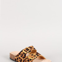 Qupid Leopard Double Buckle Footbed Sandal
