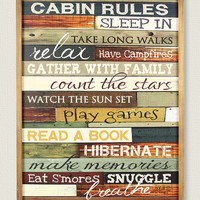 Cabin Rules Wall Sign | zulily