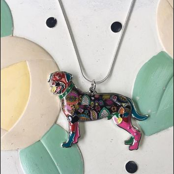 Rottweiler Enamel Charm Necklace