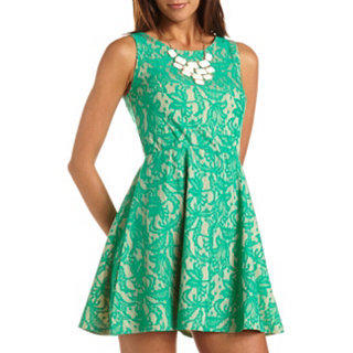 Lace Overlay A-Line Dress: Charlotte Russe