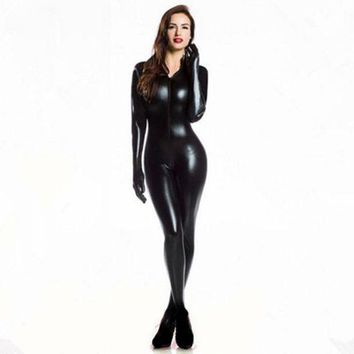 LMF78W Plus XXL Size Wome's 2way zipper Faux Leather Catsuit Clubwear DS Latex Cat Women With Gloves Fancy Costume Jumpsuit