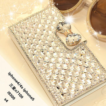 Bew Bling Bowknot Crystal Diamond Wallet Flip Case Cover for iPhone / For Samsung 2015