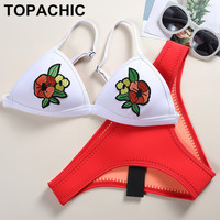 2017 Handmade Embroidery Floral Women Neoprene Bikini Set Swimwear Swimsuit Bathing Suit Top & Bottom Biquini