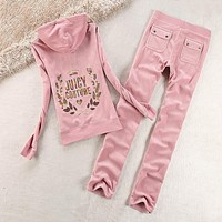 Juicy Couture Logo Sequin Velour Tracksuit 2125 2pcs Women Suits Pink-1
