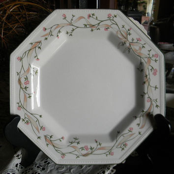 English Shabby Roses Octagon Shape Plate Pink Ribbons Eternal Beau Johnson Brothers