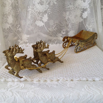 Brass Sleigh With Reindeer Decor Mantle Tabletop Vi