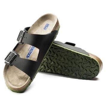 Sale Birkenstock Arizona Soft Footbed Birko Flor Embossed Desert Soil Black 1005714 Sa