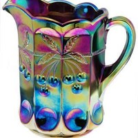 Double Creamer Cherry Thumbprint Pattern (Amethyst Carnival Glass)