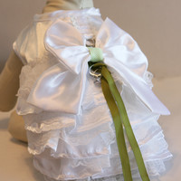 Green and White Dog dress, Dog ring bearer