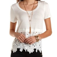 Daisy Crochet High-Low Tee by Charlotte Russe - Ivory