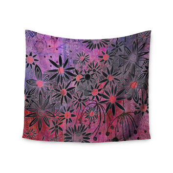 "Marianna Tankelevich ""Black Flowers"" Pink Purple Wall Tapestry"