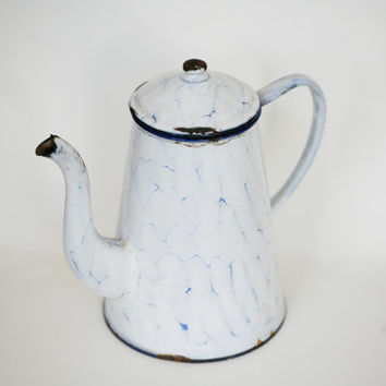 French enamel coffee pot French kitchen decor enamelware large country kitchen cottage chic shabby provincial white blue rustic watering can