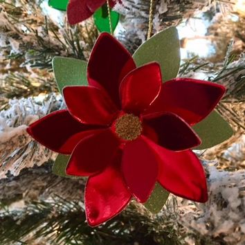 Red Metallic Foil Poinsettia Christmas Tree Ornament, Holiday Hanging Decoration, Handmade Xmas