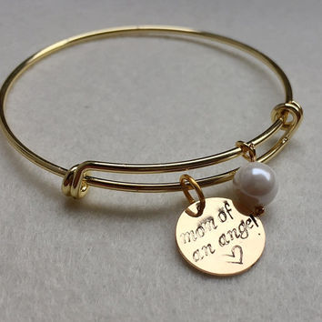 Personalized bracelet for women, penny bracelet for mom, Mother's day Gift, friendship bracelet, Charm bracelet, Mom of an angel bracelet