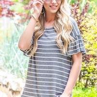 Striped Ruffle Flutter Sleeve Top