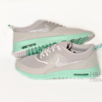 Women's Nike Air Max Thea in Grey and Green Glow with Swarovski crystal detail-last pair