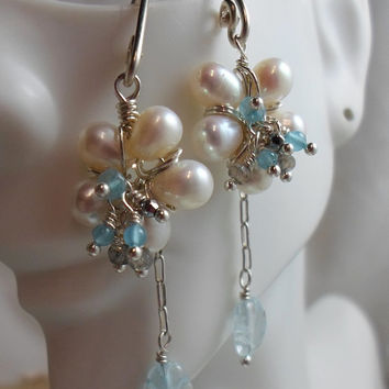 FLOWERS -Wire Wrapped Pearl Earrings w Aquamarine Center, Labradorite, Crystal & Sterling Silver Chain, HipChickJewelry
