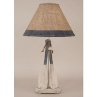 2 Paddle Nautical Lamp with Burlap Shade