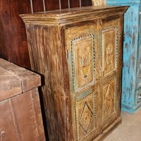 Indian Hand Carved Solid Wood CABINET Chest Storage Antique Interior Design