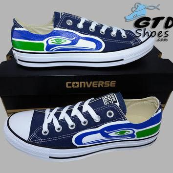 Hand Painted Converse Low Sneakers. Seattle Seahawks. Hawks. Football. Superbowl.12th