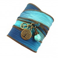Tree of Life Silk Wrap Bracelet with Peace Sign and Turquoise