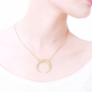N00214 indian jewelry Gold Silver Simple Crescent Moon horn Plain Half Moon Pendant Necklaces for Women vintage accessories