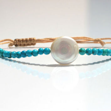 Friendship bracelet coin pearl turquoise beads macrame bracelet natural color Cotton cord Adjustable gift for her friendship bracelet