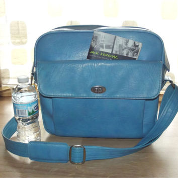 Vintage 60s Blue Travel Overnight Bag LOCKING Samsonite Silhouette Retro MOD Carry On Stewardess Luggage Diaper Bag