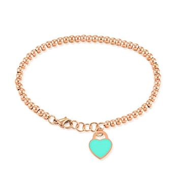 Beaded Mint Heart Bracelet