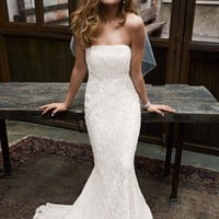 Allover beaded lace gown with empire waist. - David's Bridal - mobile