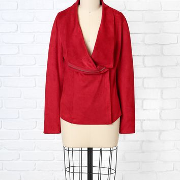 Red Suede Asymmetrical Jacket