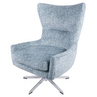 Arya Fabric Swivel Chair, Quiver Indigo Blue