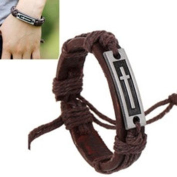 Fashion Men Women Unisex Vintage Brown PU Leather Bracelet With Alloy Metal Cross Pattern Cuff Charm Bangle [7938572103]