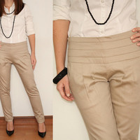 High Waist Skinny Pants in Beige for Women Office Fashion