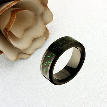 Ceramic Promise Ring Wedding Band Ring Men Women Unisex Personalized Custom Engraving 8mm Green & Carbon Black Ring - ZDPCR248-8MM