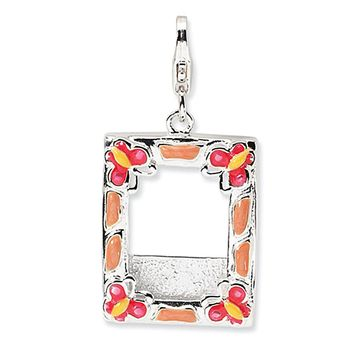 925 Sterling Silver Enameled Multicolor Butterfly Picture Frame Charm