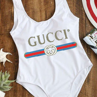 Gucci Swim Women Hot Sale Print Vest Type Bikini One Piece Swimming Or Tan Top B-ZDY-AK White