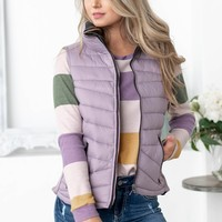 Aspen Reversible Puffy Pocket Zip Up Vest | Dusty Lillac