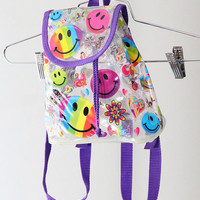 SICK Mega Mini Clear 90s Lisa Frank Backpack with Smiley Faces / Butterflies / Hearts