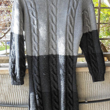 Knitted dresses,light and dark grey,  in soft Merino wool