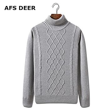 2016 New Winter Top Quality cotton turtleneck Solid men Sweaters thick Slim Fit Sweater Men Pull Homme Sudaderas Male