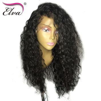 Elva Hair Curly Lace Front Human Hair Wigs For Black Women Brazilian Remy Hair Wigs Pre Plucked Bleached Knots With Baby Hair