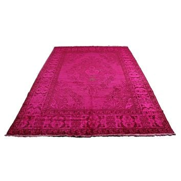 6x9 Overdyed Hot Pink Rug Distressed Vintage Oriental 2823