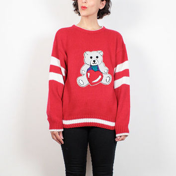 Vintage 80s Sweater Red White Letterman Striped Teddy Bear Sweater 1980s Jumper Chunky Knit Sweater Kawaii Heart Boyfriend Sweater M L Large