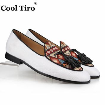 Cool Tiro White Canvas Loafers Men Moccasins Tassels